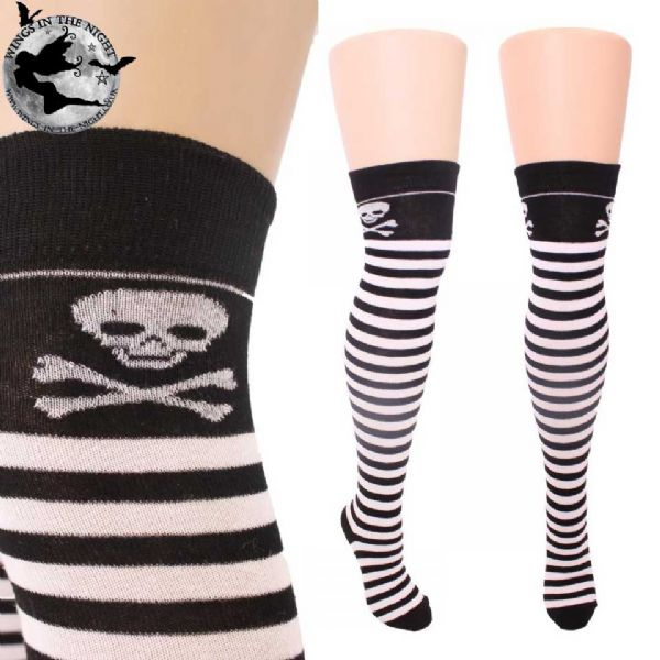 Skull Over Knee Gothic Stripe Socks